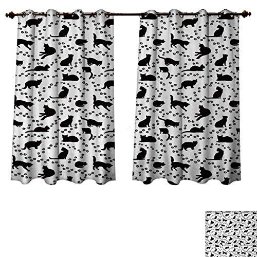 Anzhouqux Cat Blackout Thermal Curtain Panel Cat Silhouette and Animal Tracks Pattern Paws Footprints Kitties Different Poses Patterned Drape for Glass Door Black and White W55 x L72 inch
