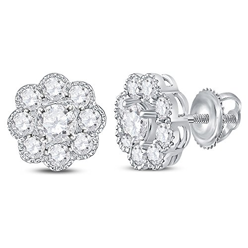 14kt White Gold Womens Round Diamond Flower Cluster Stud Earrings 1.00 Cttw (SI3 clarity; G-H color) (Cluster Birthstone 14kt Earrings Gold)