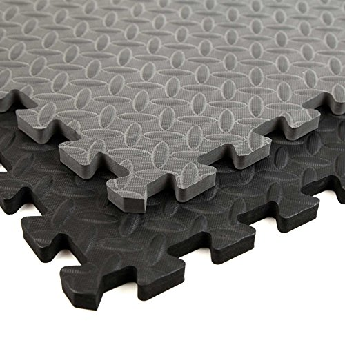 Incstores Diamond Soft Extra Thick Anti Fatigue Interlocking Foam Tiles (16 Pack, Grey) - 2ft x 2ft Tiles Ideal for Laundry Room Flooring, Kitchen Mats, Exercise Mats, Garage Mats and More