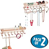 mDesign Closet Wall Mount Jewelry Accessory Organizer for Storage of Neckalces, Bracelets, Rings, Earrings, Sunglasses, Wallets – 8 Large Hooks/11 Small Hooks/1 Basket, Pack of 2, Rose Gold