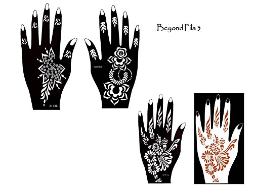 Tattoo Stencil Template Set of 3 different Sheets Henna Designs Suitable for Hand Pila
