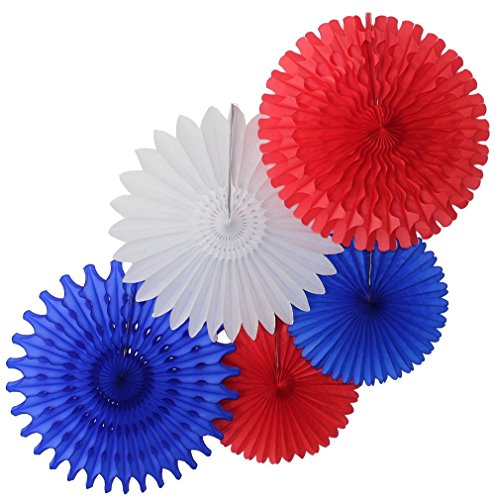 5-Piece Tissue Paper Fans, Red White Blue -