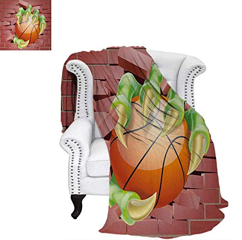 - Custom Design Cozy Flannel Blanket Claw Beast Monster Hand Holds Basketball Through Brick Wall Paint Lightweight Blanket 90