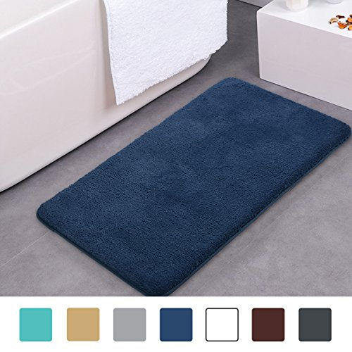 MAYSHINE 24×39 inch Dark Blue Non-slip Bathroom Rug Bath Mat Machine-washable Soft Microfiber