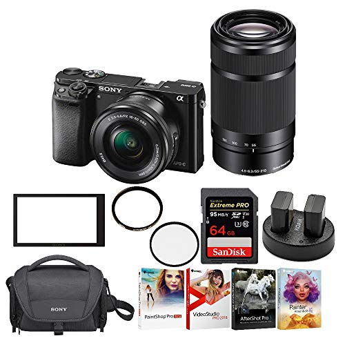 (Sony a6000 Mirrorless Camera with 16-50mm and 55-210mm Lens Bundle)