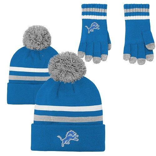 NFL Boys (4-7) 2 Piece Knit Hat and Gloves Set-Lion Blue, Detroit Lions-One Size