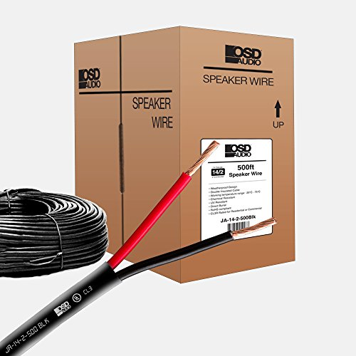 OSD 14 Gauge 2-Conductor 500FT UL CL3 Rated Oxygen Free in Wall Black Speaker Wire Pure Copper, Direct Burial Graded ()