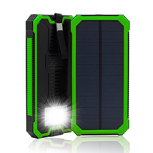 Waterproof Solar Charger Power Bank 15000mAh Solar External Battery Bank with Dual USB Portable External Solar Power Bank Charger for Iphone 7 6 Plus 5 Galaxy S7 6 5 HTC and most Smart Phones Tablets JU-TS888 (Green)