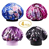 Tinbrot Soft Satin Sleeping Cap 4 Pieces Salon Bonnet Night Sleep Hat Hair Loss Cap Set(2 Headband Widths)