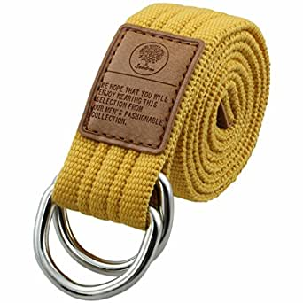 "Samtree Canvas Belts D Ring Buckle,Adjustable Solid Color Military Style Web Belt(46"",Yellow)"
