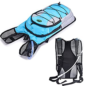 Juboury Hydration Backpack--Hydration Rucksack Bag Includes Free 2L Water Bladder for Running, Hiking, Biking, and for All Other Outdoor Sports Where You Need Water (Blue)