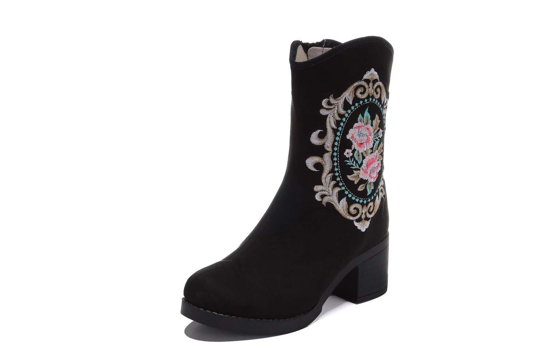 Fuxitoggo Frauen Schwarze Stiefel Block Stickerei Blaume Ankle Schuhe (Farbe   Schwarz 2, Größe   EU 40)