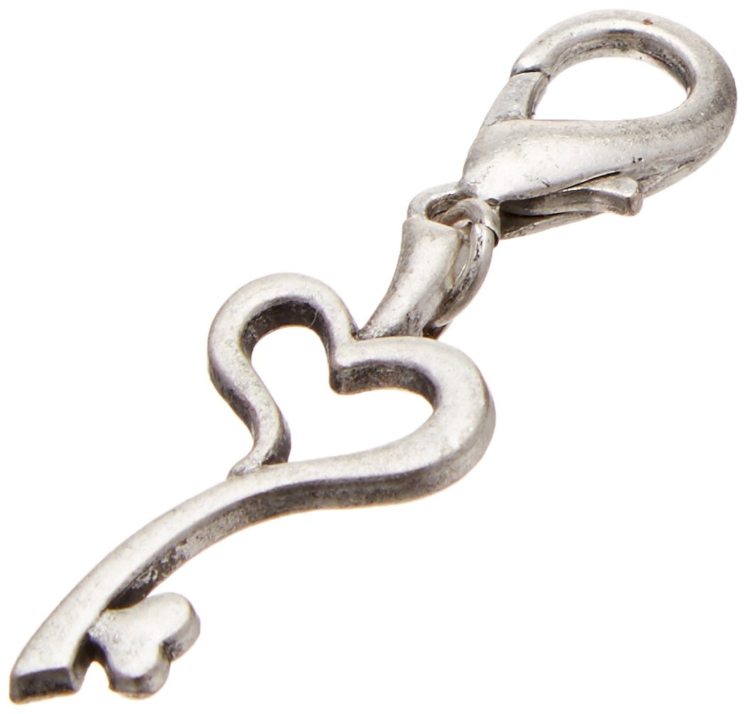 Mirage Pet Products Chrome Lobster Claw Charm for Pets, Heart Key