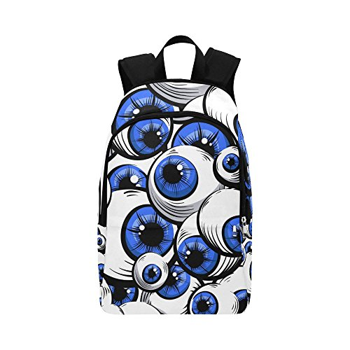 Unique Debora Custom Outdoor Shoulders Bag Fabric Backpack Multipurpose Daypacks for Adult with Design Scary Fantasy Blue Eyes -