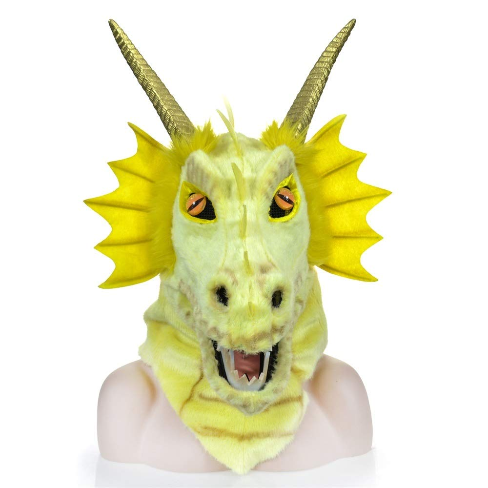 KX-QIN Custom Design Moving Mouth Blue Dragon Head Colorful Animal Fur Party mask Factory Deluxe Novelty Halloween Costume Party Latex Animal Head Mask for Adults and Kids (Color : Yellow) by KX-QIN