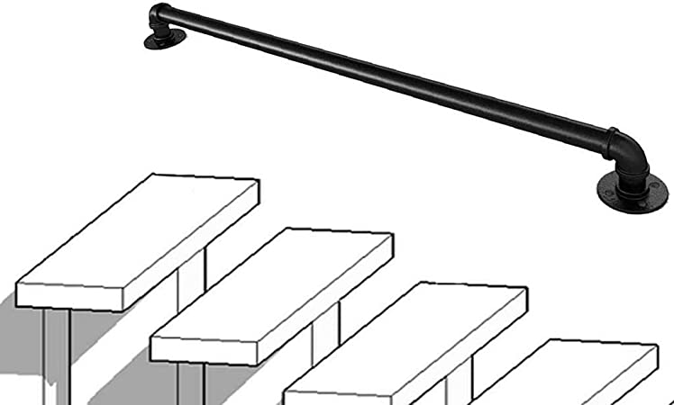 1 pie-4 pies de la Escalera Barandilla Barandilla-montado en la Pared de Suelo Barandilla |Los pasamanos de Hierro Antideslizante for Villas, Lofts, barandillas de Seguridad (Size : 80cm): Amazon.es: Hogar