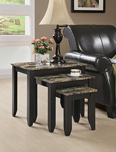 Monarch Specialties 3-Piece Marble Look Top Nesting Table Set, Tan Cappuccino by Monarch Specialties