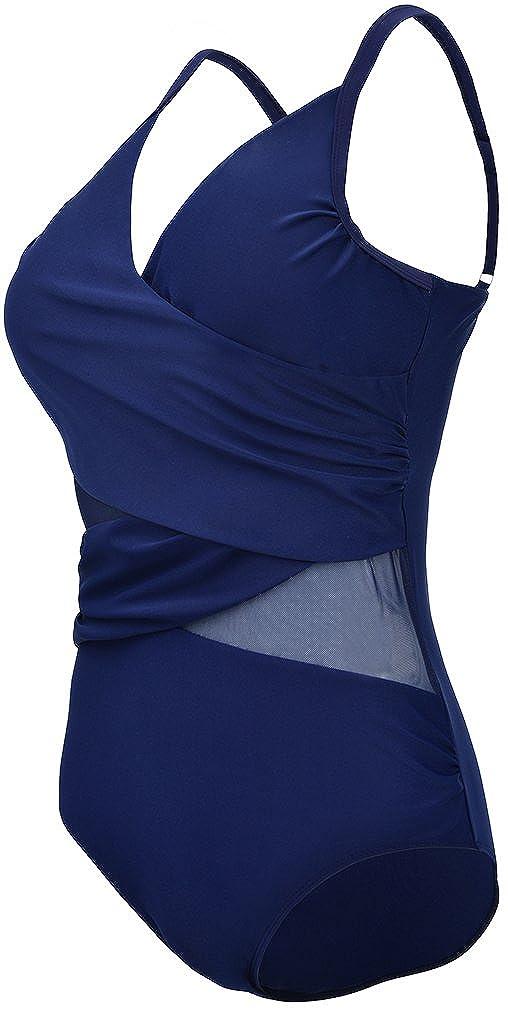 5c238c85a9 Sports et Loisirs EUDOLAH Femme Maillot de Bain 1 pièce Amincissante Slim  Grande Taille Bikini Transparent