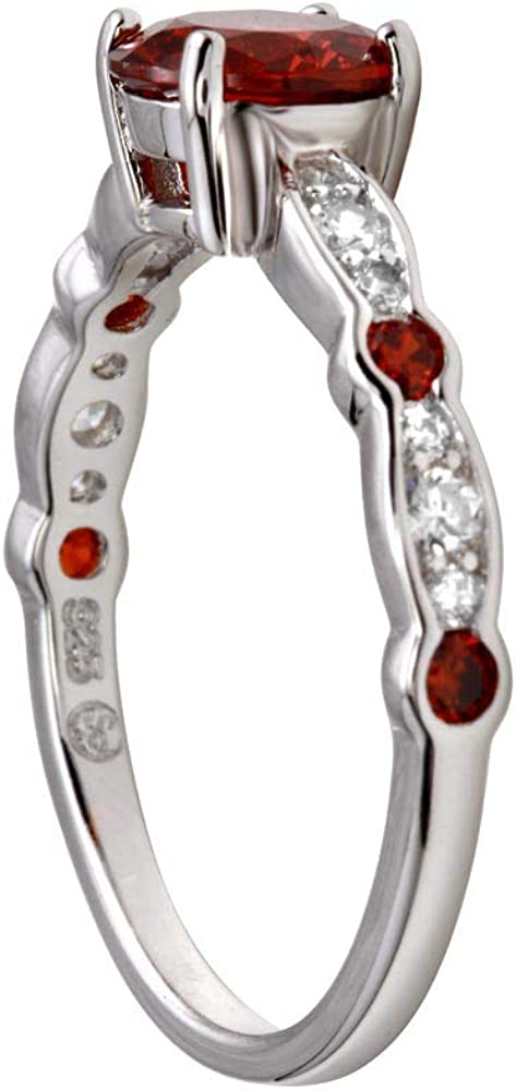 Princess Kylie Synthetic Garnet Center Cubic Zirconia Promise Ring Rhodium Plated Sterling Silver