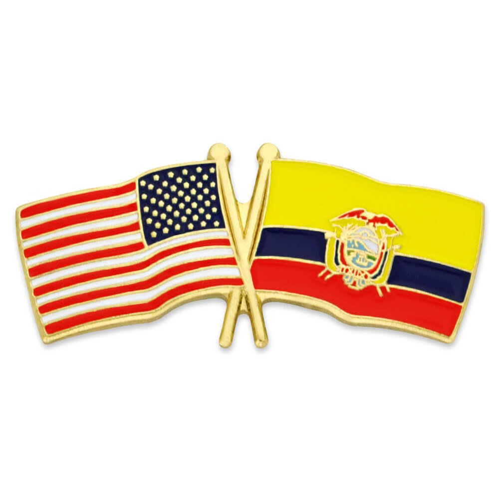 PinMart's USA and Ecuador Crossed Friendship Flag Enamel Lapel Pin by PinMart