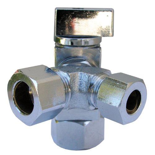 LASCO 06-9323 Quarter Turn 3-Way Valve, 1/2-Inch Iron Pipe Inlet X 1/2-Inch Compression Outlet X 3/8-Inch Compression Outlet, ()