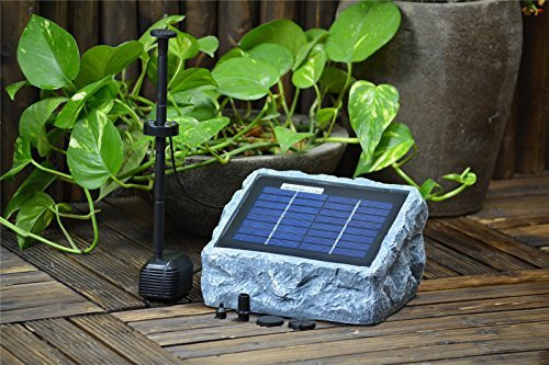 (ASC Solar Stone Water Pump Kit with Battery and LED Ring Light)