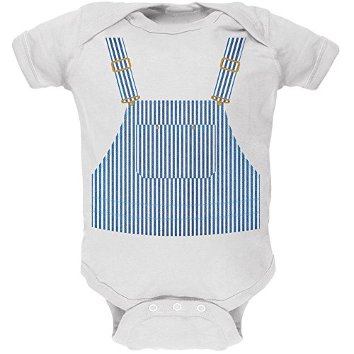 Old Glory Halloween Train Engineer Costume White Soft Baby One Piece - 3-6 Months ()