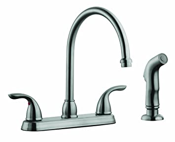 Design House 525089 Ashland High Arch Kitchen Faucet With Sprayer, Satin  Nickel