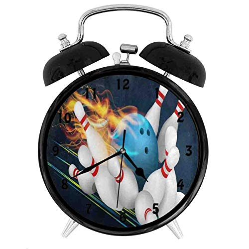 BCWAYGOD Blue Bowling Ball Flames Art - Unique Decorative Battery Operated Quartz Ring Alarm Clock for Home,Office,Bedroom 3.8inch