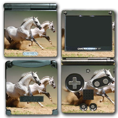 White Horses Ponies Running Video Game Vinyl Decal Skin S...