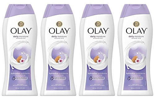 Olay Daily Moisture with Almond Milk Body Wash, 22 oz, (4 Count) (Milk Almond Light)