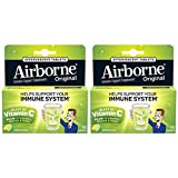 Airborne Lemon Lime Effervescent Tablets, 10 count - 1000mg of Vitamin C - Immune Support Supplement (Pack of 2)