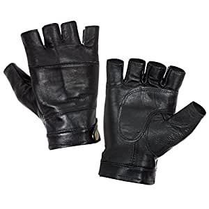 "Hongye Nappa Leather Half Finger Fingerless Motorcycle Fitness Cycling Hunting Driving Lined Gloves 8 1/2""- 9"" BLACK"