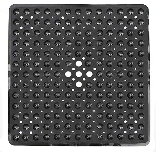 Yimobra Original Bath Tub Shower Mat Square 21x21 Inches, Non-Slip with Drain Holes, Machine Washable, BPA, Latex, Phthalate Free, Suction Cups, Bathroom Mats, ()