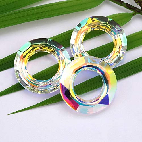 Calvas 14mm 30mm Crystal Beads Crystal AB Glass Beads Loose Beads Cosmic Ring for Jewelry Making Necklaces Earrings Accessories - (Item Diameter: 14mm-12PCS)