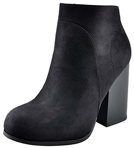 Speed Limit 98 Women's Stacked Chunky Heel Hidden Zipper Round Toe Ankle Bootie (10 B(M) US, Black ISU) Womens Chunky Heel Booties