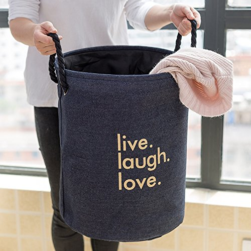 Thicken linen laundry hamper,Household storage bin storage basket fold laundry basket for college dorm-C 35x45cm(14x18inch) by AMYDREAMSTORE (Image #4)