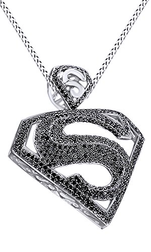 Round Cut Simulated Black Cubic Zirconia Superman Hip Hop Pendant in 14k White Gold Over Sterling Silver (5.52 Cttw) by AFFY