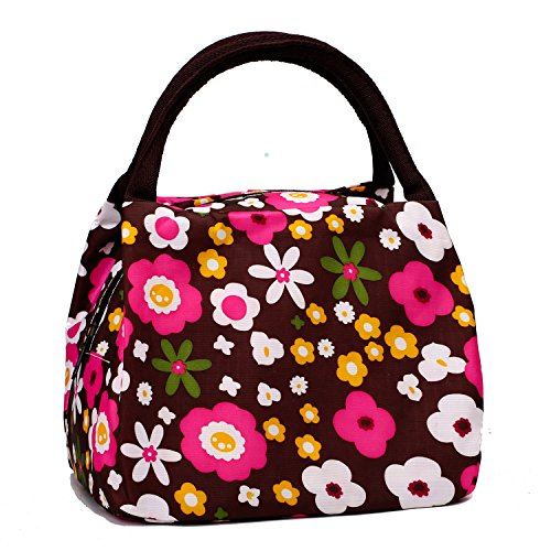 Cute Colorful Nylon Zipper Portable Cosmetic Lunch Picnic Handbag Bag , Coffee Flower