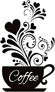 "SITAKE ""Coffee Cup + Flower"" Wall Decor Sticker, Black Coffee Decor for Coffee Bar and Coffee Station, Removable Kitchen Signs for Kitchen Decorations Wall, 11.8 x 18.9 Inch"