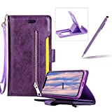Purple Zipper Leather Case for iPhone 8 Plus,Strap Flip Leather Case for iPhone 7 Plus,Herzzer Premium Classic Multi-Functional Zipper Pocket Stand Folio PU Leather Flip Cover with Inner Soft TPU