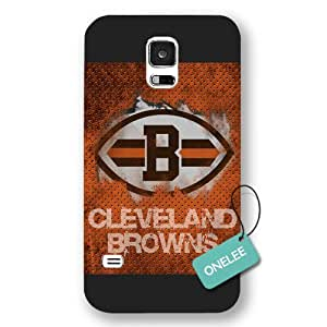 diy case - Black Frosted NFL Team Cleveland Browns Logo Samsung Galaxy S5 Case & Cover - Black 5