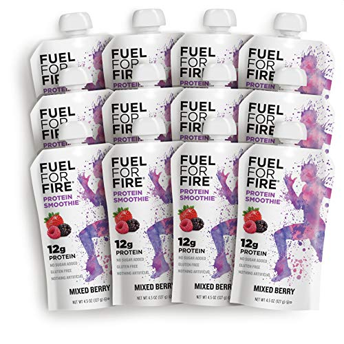 Fuel For Fire - Mixed Berry (12 Pack) Fruit & Protein Smoothie Squeeze Pouch | Perfect Drink for Workouts, Kids, Snacking - Gluten-Free, Soy-Free, Kosher, No Added Sugar (4.5 ounce pouches)
