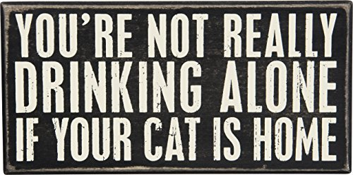 - Primitives by Kathy Classic Box Sign, cat is Home