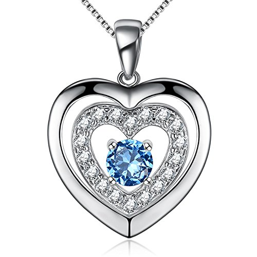 S925 Sterling Silver Blue CZ Eternal Double Love Women Heart Pendant Necklace, Box Chain 18