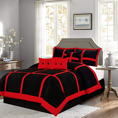 (Empire Home Mikasa Collection Luxurious Micro Suede Soft Comforter Set - Limited-Time Sale!! (Red Patchwork, Queen Size))