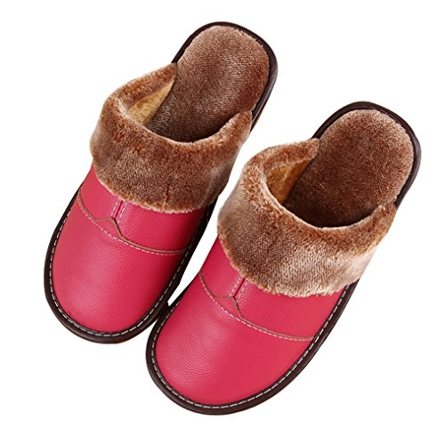Cattior Womens Fur Lined Comfy Indoor Outdoor Ladies Slippers Leather Slippers Rose Red T5JiSkdqQw