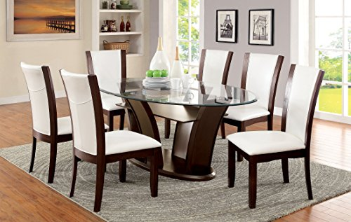 Furniture of America Okeho II 7-Piece Oval Glass-Top Dining Set, White