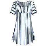 FarJing Hot Sale Women Plus Size Crewneck Button-up Ruched Blouse Short Sleeve Tunic Tops Shirt (L,Blue)