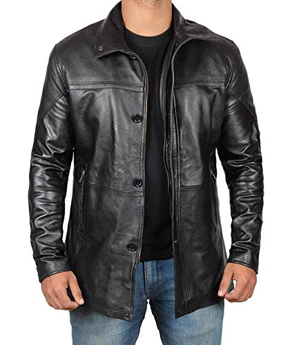 Decrum Black Leather Coats for Men Lambskin Car Coat Jacket | [1500144] Black Bristol, L